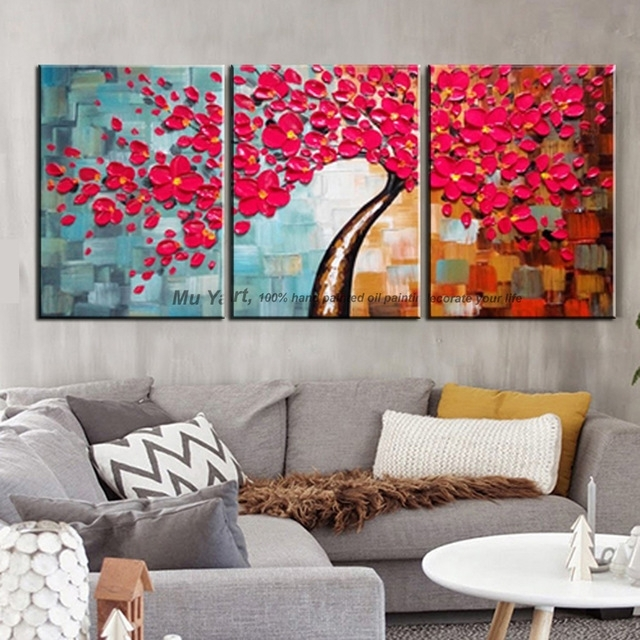 3 Piece Wall Art Decor Red Tree Abstract Knife Acrylic Flower With Regard To Abstract Canvas Wall Art Iii (View 12 of 15)