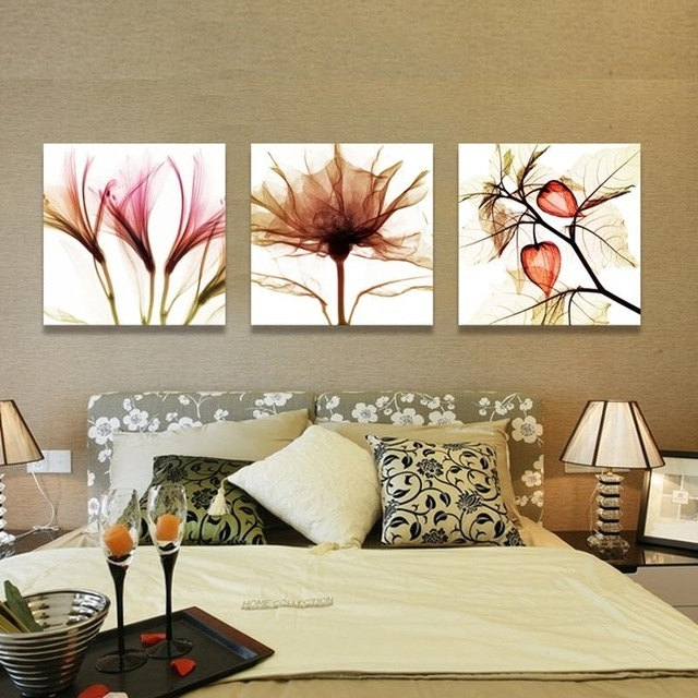 3 Piece Wall Art Flower Abstract Paintings Flower Art Canvas Intended For Kohl's Canvas Wall Art (Photo 10 of 15)