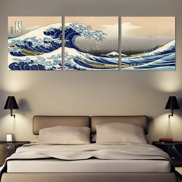 3 Piece Wall Art Japanese Art Painting Canvas Posters And Print Pertaining To Japanese Canvas Wall Art (Image 2 of 15)