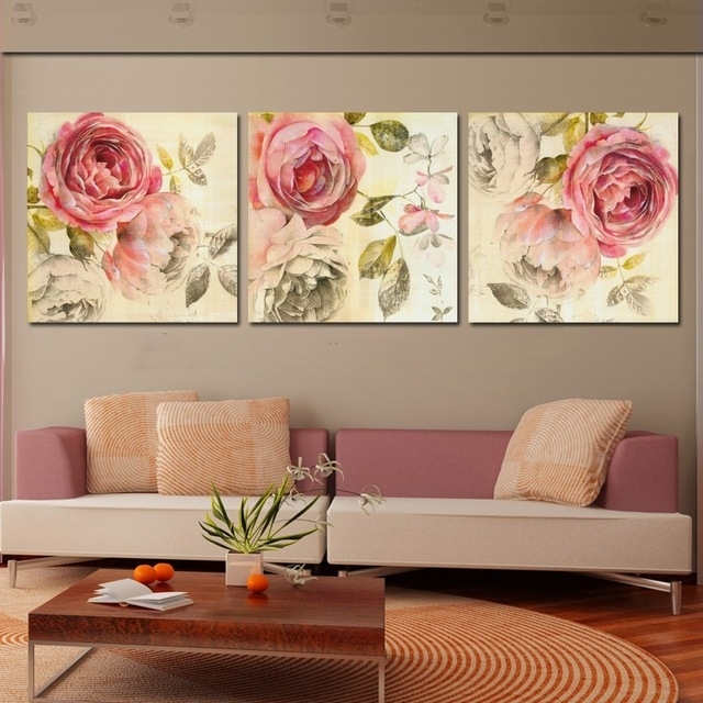 3 Piece Wall Art Painting Classic Flower Rose Canvas Prints Home Regarding Roses Canvas Wall Art (Image 2 of 15)