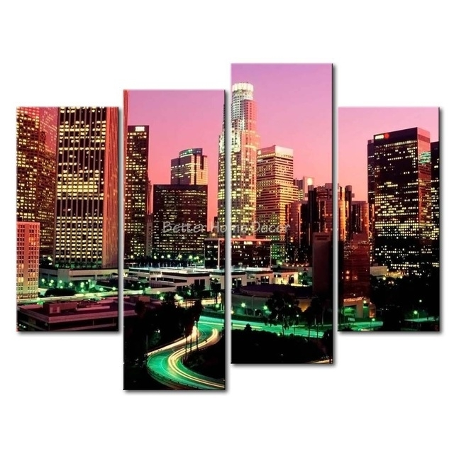 3 Piece Wall Art Painting Los Angeles With Nice Night Scene Print Intended For Los Angeles Canvas Wall Art (Photo 7 of 15)