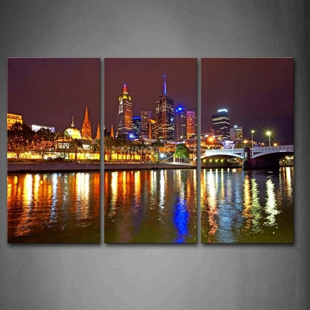 3 Piece Wall Art Painting Melbourne City Is Very Busy Print On Throughout Canvas Wall Art In Melbourne (Photo 7 of 15)