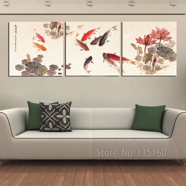 3 Piece Wall Art Picture Traditional Chinese Calligraphy Painting Pertaining To Koi Canvas Wall Art (Image 6 of 15)