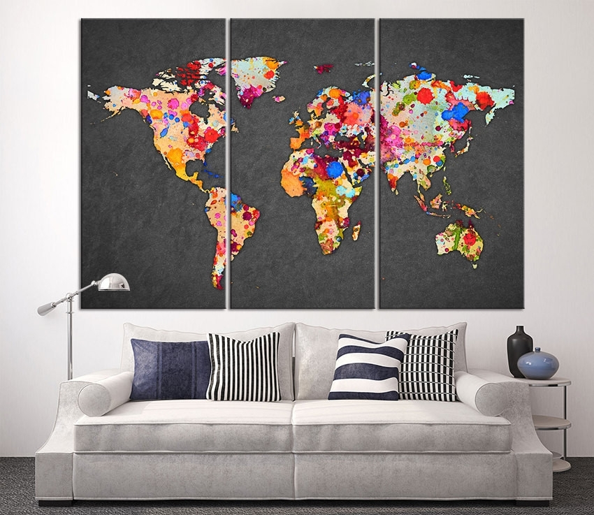 3 Piece World Map Canvas Print On Gray Background, Large World Map Throughout Maps Canvas Wall Art (Image 1 of 15)