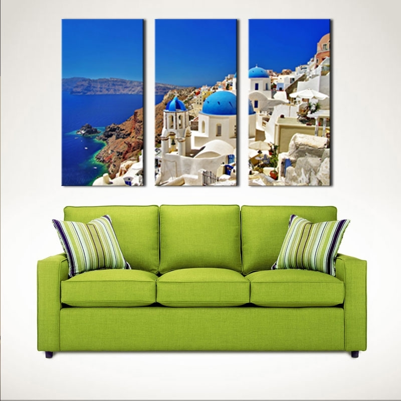 3 Pieces Aegean Sea Paintings Artwork Santorini Landscape Picture Throughout Greece Canvas Wall Art (View 15 of 15)