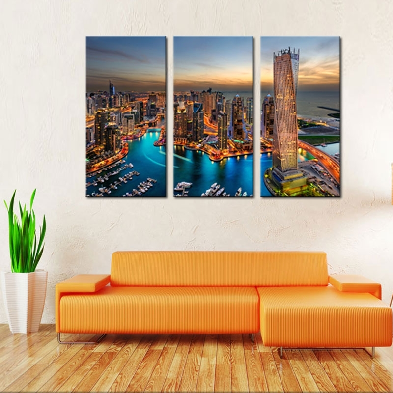3 Pieces Canvas Painting City Landscape Paintings Wall Art With Regard To Dubai Canvas Wall Art (Photo 9 of 15)