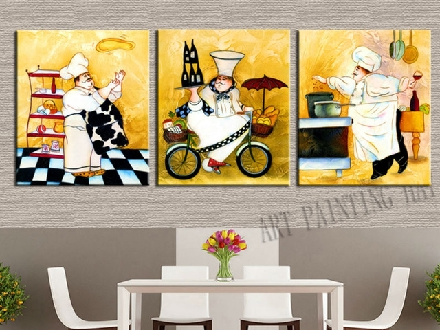 3 Pieces Modern Abstract Canvas Painting Funny Chef Wall Art For Intended For Abstract Kitchen Wall Art (View 3 of 15)