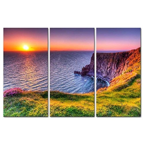 3 Pieces Modern Canvas Destination Cliffs Of Moher Beach At Sunset With Ireland Canvas Wall Art (View 6 of 15)