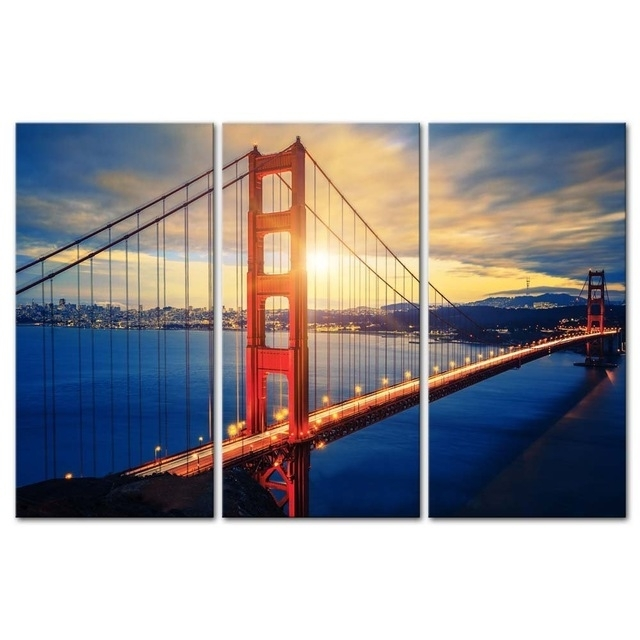 3 Pieces Modern Canvas Painting Wall Art Famous Golden Gate Bridge Intended For Golden Gate Bridge Canvas Wall Art (Image 3 of 15)