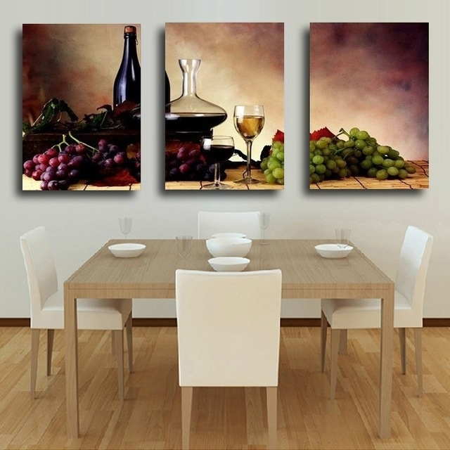 3 Pieces Modern Wall Oil Painting Abstract Wine Fruit Kitchen Wall Inside Abstract Kitchen Wall Art (Image 3 of 15)