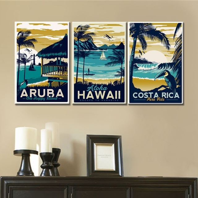 3 Pieces Wall Art Canvas Paintings Hawaii Aruba Costa Rica With Hawaii Canvas Wall Art (Image 1 of 15)