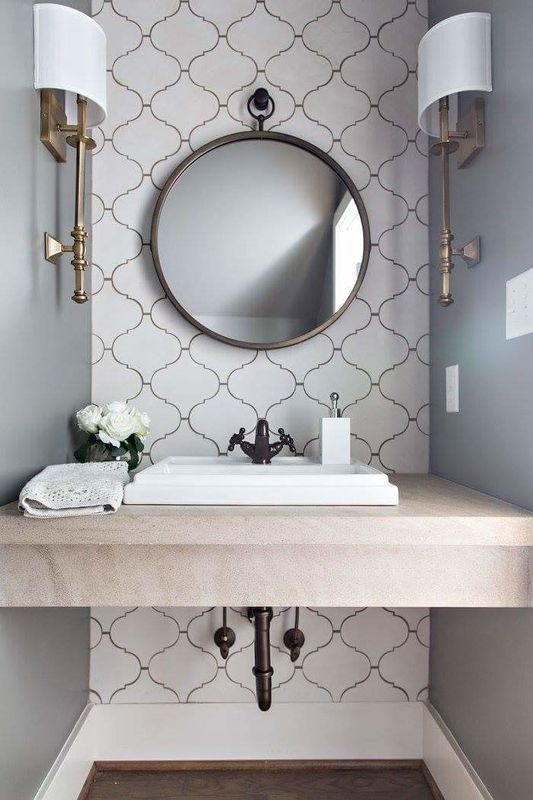 3 Tips And 27 Ideas To Design A Cool Powder Room – Digsdigs Regarding Wall Accents For Bathrooms (Image 4 of 15)