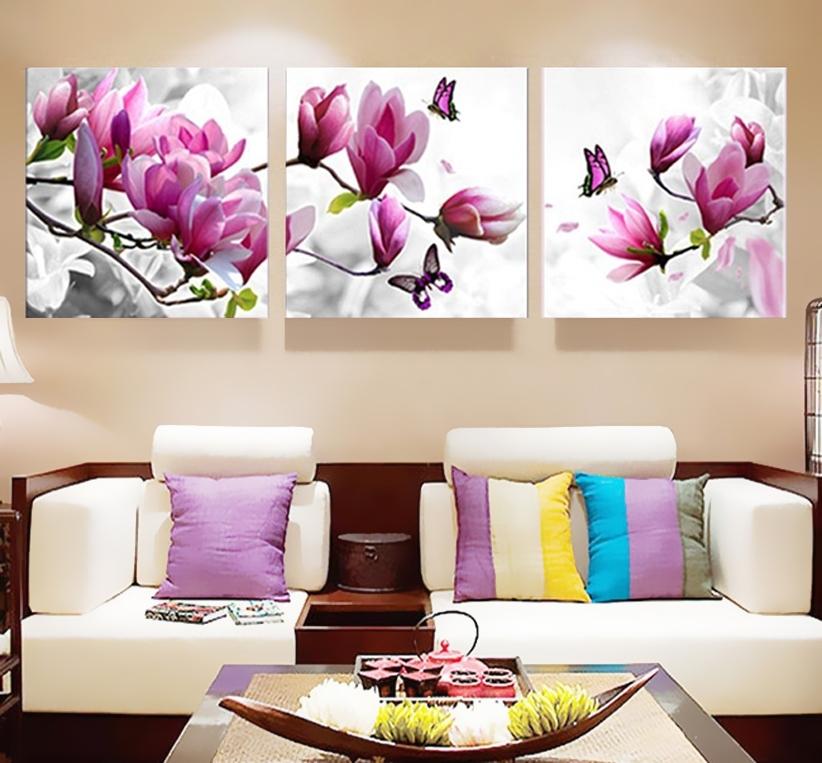 3 Unids Impresión Del Cartel De La Lona Pared Art Pink Orquídeas Intended For Orchid Canvas Wall Art (Image 2 of 15)