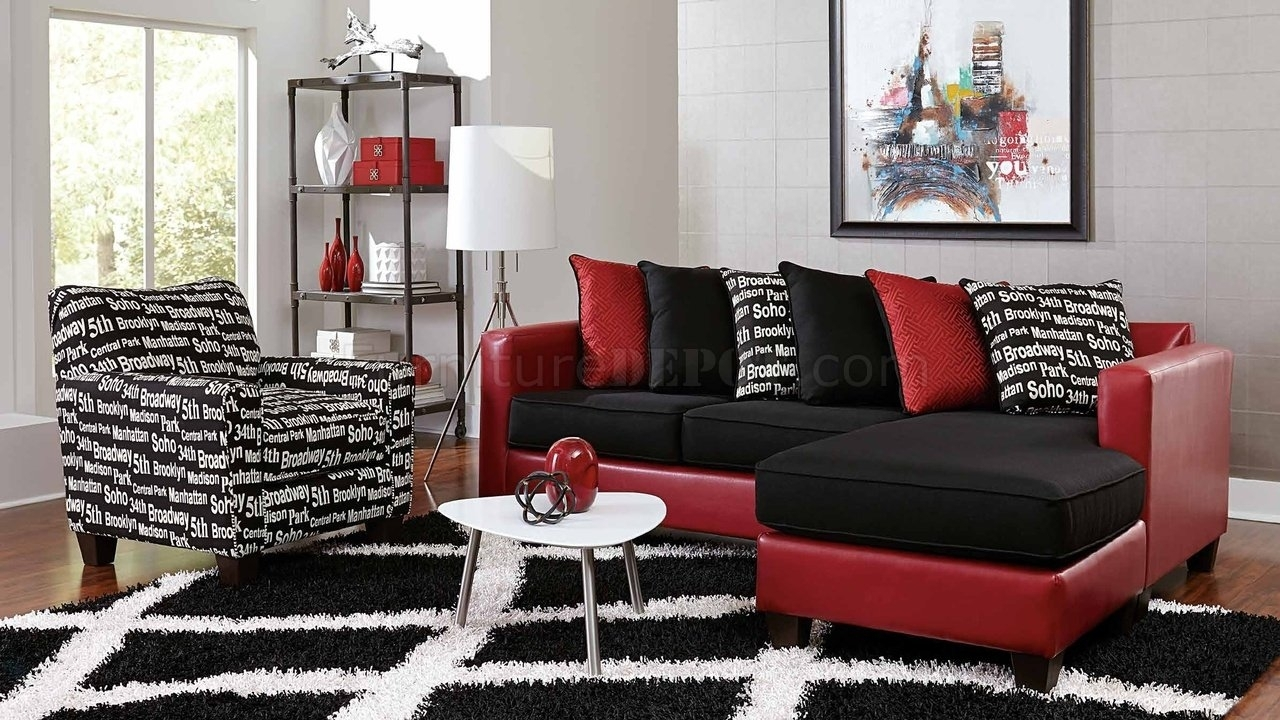 3006 Sectional Sofa In Red Bicast & Black Microfiber Intended For Red Black Sectional Sofas (Image 1 of 10)