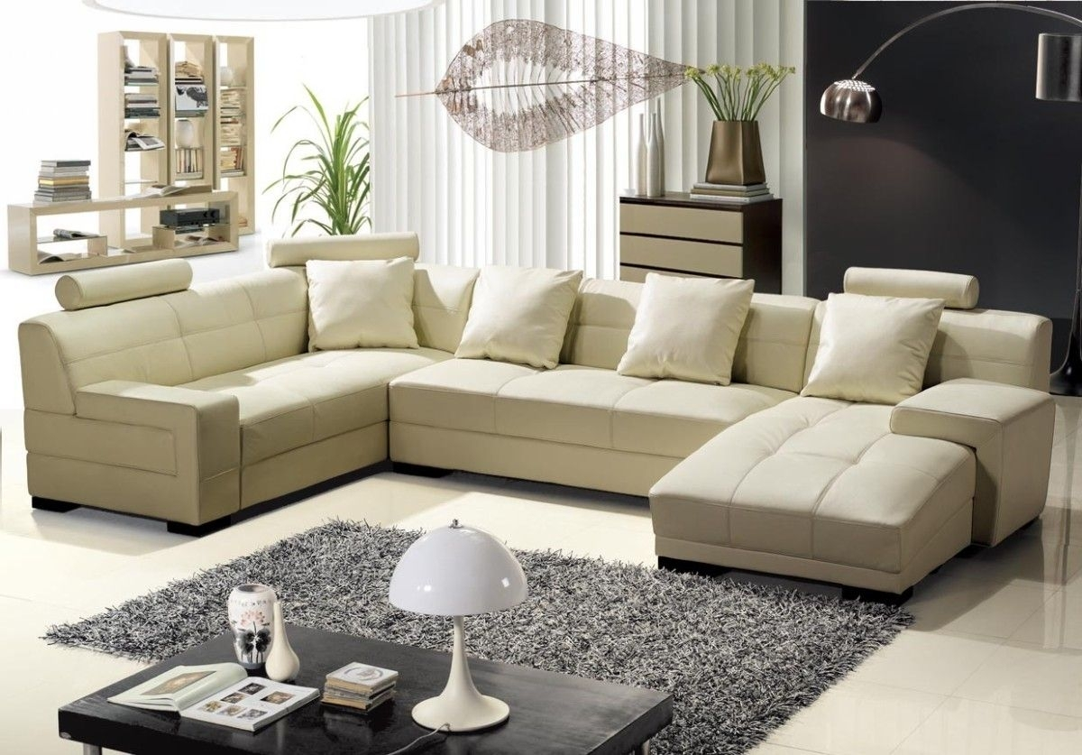 3334B Modern Beige Leather Sectional Sofa | Leather Sectional Sofas In Beige Sectional Sofas (Image 1 of 10)