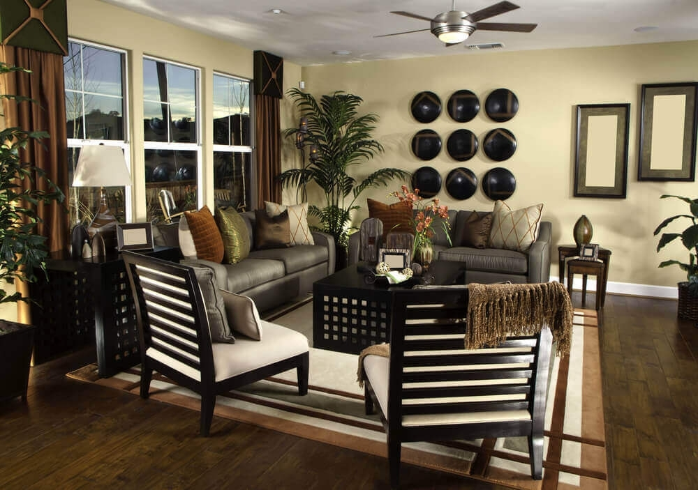 36 Elegant Living Rooms That Are Richly Furnished & Decorated Intended For Earth Tones Wall Accents (Photo 15 of 15)