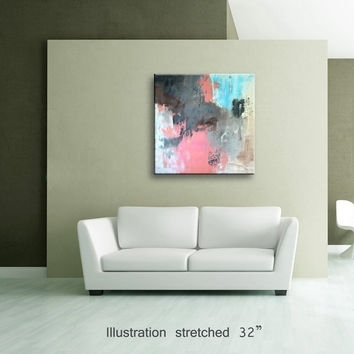 "36"" Pink Light Blue Gray Brown Black From Editvorosart With Regard To Light Abstract Wall Art (Image 2 of 15)"