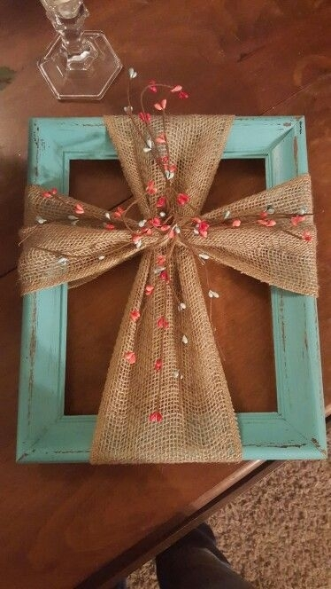 37 Easy Crafts To Make And Sell | Cross Wall Art, Framed Burlap Intended For Fabric Cross Wall Art (Photo 6 of 15)