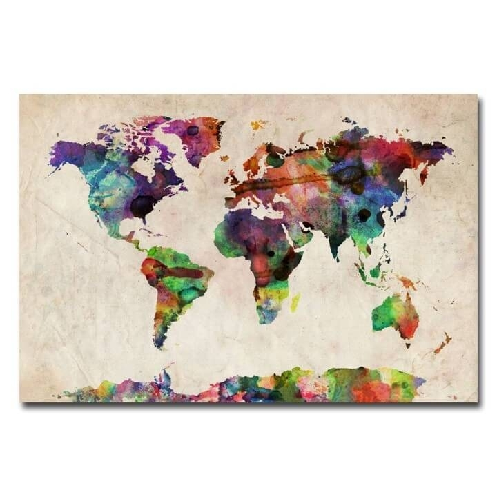 37 Eye Catching World Map Posters You Should Hang On Your Walls For Quirky Canvas Wall Art (Image 3 of 15)