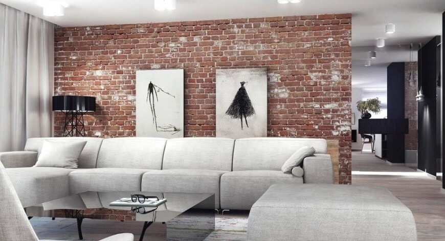 38 Beautiful Living Rooms With Exposed Brick Walls Throughout Exposed Brick Wall Accents (Photo 14 of 15)