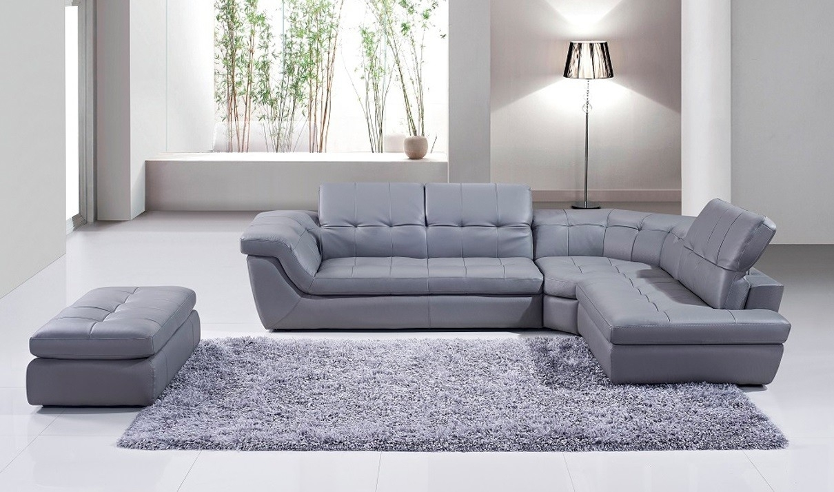 397 Italian Leather Sectional Sofa With Ottoman In Grey | Free inside Leather Sectionals With Ottoman