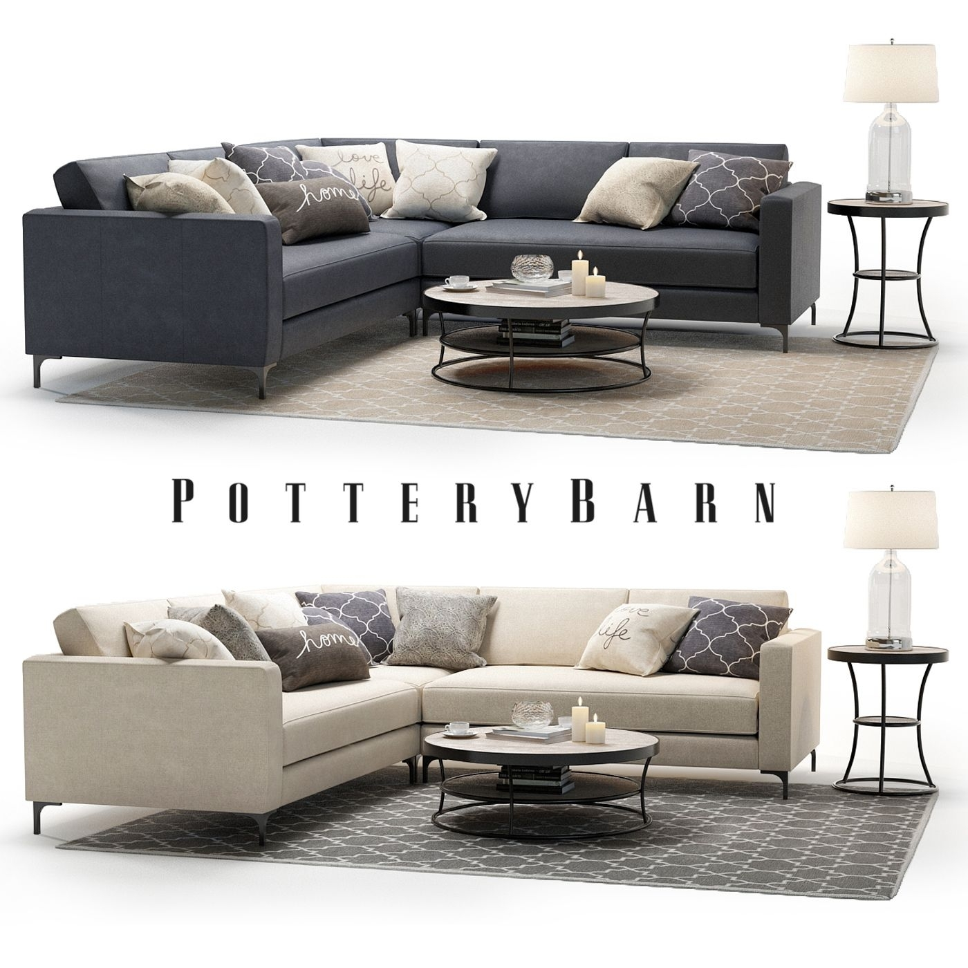 3D Model - Pottery Barn - Jake Sectional Sofa With Bartlett with Pottery Barn Sectional Sofas
