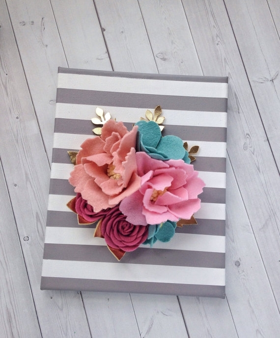 3D Wall Flowers – Felt Wall Hanging – Felt Flower Wall Decor Throughout Floral Fabric Wall Art (Image 3 of 15)