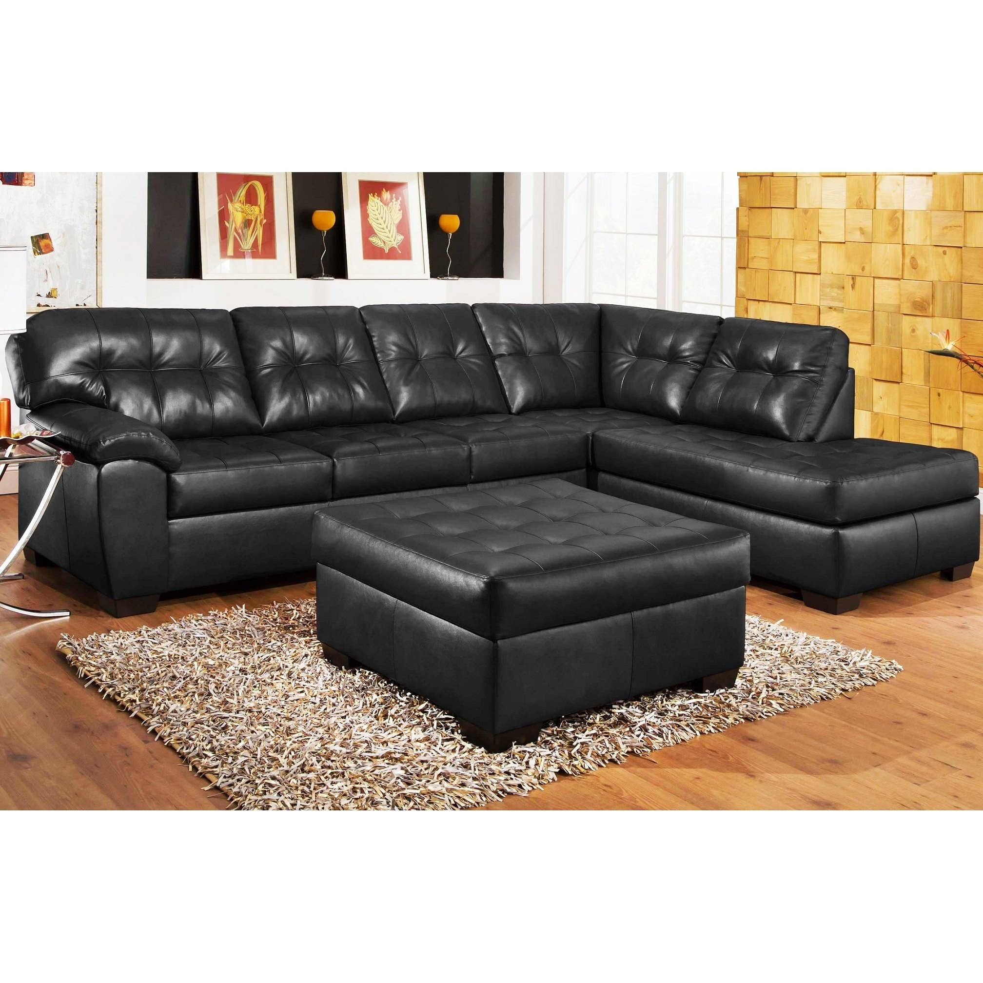 3Pc Black Leather Sectional Sofa , Chaise , Ottoman Set | Create The Inside Black Leather Sectionals With Ottoman (Photo 2 of 10)