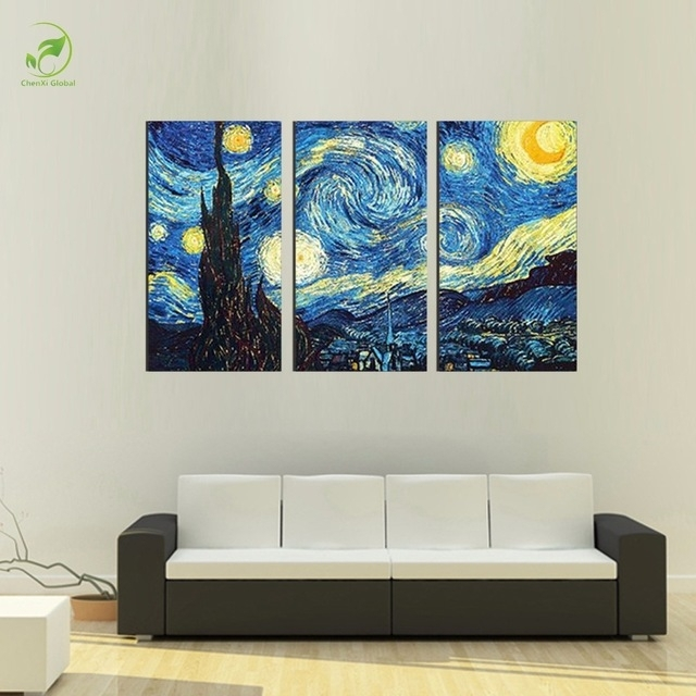 3Pcs Masters Starry Night Vincent Van Gogh Prints Reputation Oil Within Masters Canvas Wall Art (Image 1 of 15)
