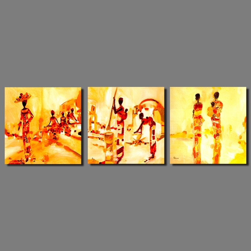 3Pcs/set Retro Abstract Art Yellow Picture Decoration Indian Women with India Abstract Wall Art