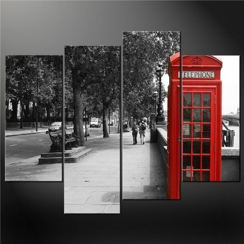 4 Panel Black White And Red Phone Booth London Wall Art Cascade In Canvas Wall Art Of London (View 2 of 15)