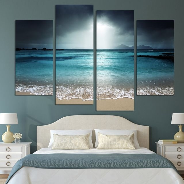 4 Panel Modern Wall Art Home Decoration Painting Canvas Wall Art Intended For Canvas Wall Art Beach Scenes (View 10 of 15)