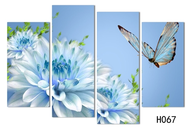 4 Panels Canvas White Flower With Butterfly Painting On Canvas with Butterflies Canvas Wall Art