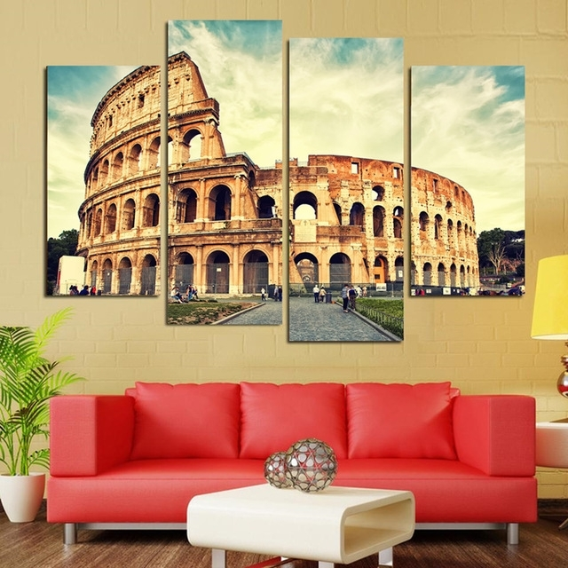 4 Panels Classical Architecture Scenery Rome Colosseum Print With Canvas Wall Art Of Rome (Photo 8 of 15)