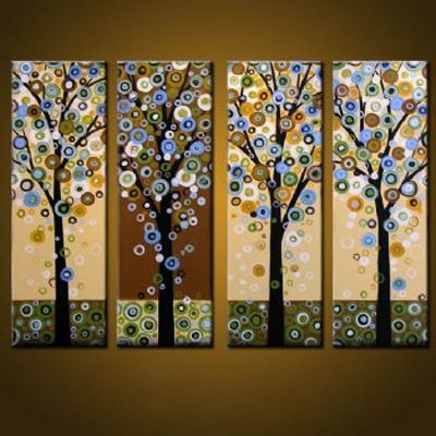 4 Pcs Abstract Canvas Art : Cheap Oil Paintings|Paintings For Sale Pertaining To Abstract Leaves Wall Art (View 12 of 15)