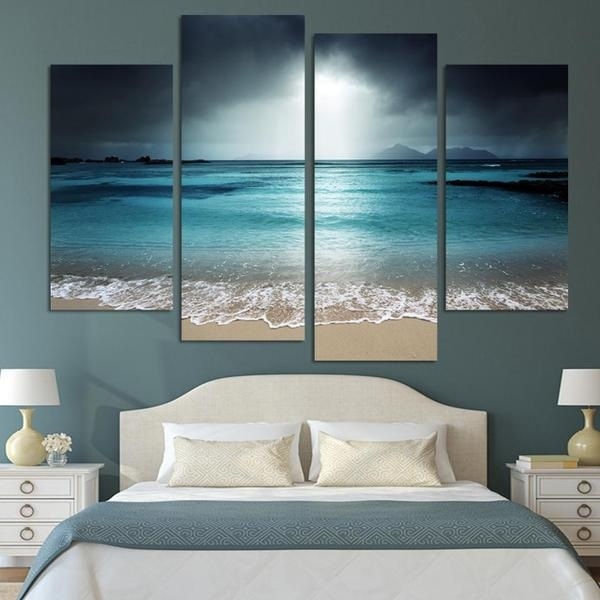 4 Pcs Beach At Twilight Multi Panel Canvas Wall Art Modern Home In Beach Canvas Wall Art (Image 3 of 15)