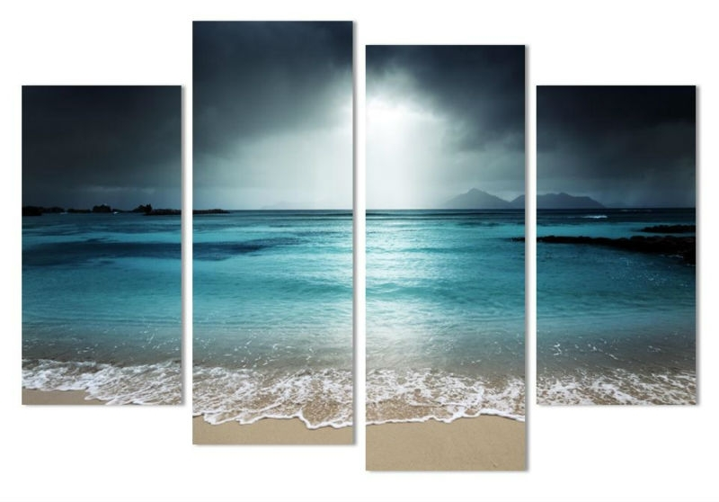 4 Pcs Beach At Twilight Multi Panel Canvas Wall Art Modern Home In Canvas Wall Art Beach Scenes (View 5 of 15)