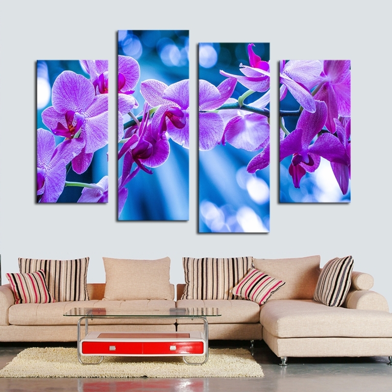 4 Pcs Dreamy Purple Flower Wall Art Picture Home Decoration Living With Purple Flowers Canvas Wall Art (Image 1 of 15)