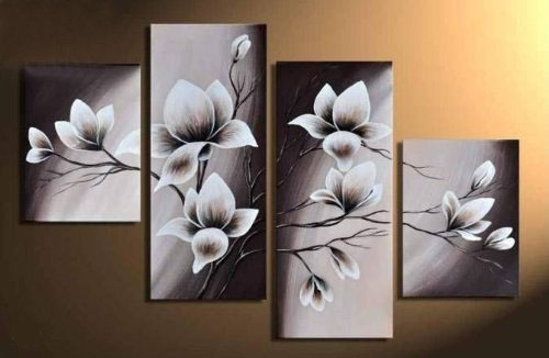 4 Pcs Floral Canvas Wall Art : Cheap Oil Paintings|Paintings For Throughout Next Canvas Wall Art (Photo 12 of 15)