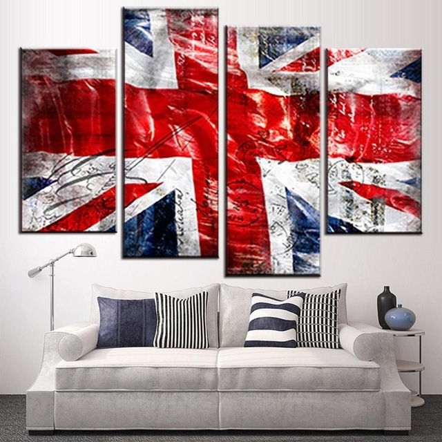 4 Pcs/set Still Live British Flag Wall Art Picture Modern Combined Pertaining To Union Jack Canvas Wall Art (Photo 2 of 15)