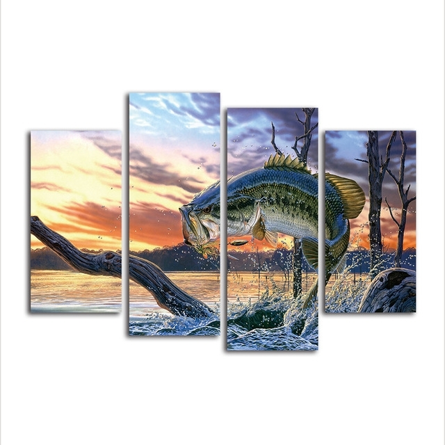 4 Piece Jumping Fish Hd Print Canvas Wall Art Wild Life Landscape Regarding Jump Canvas Wall Art (Image 3 of 15)