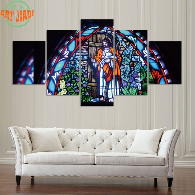 4 Piece/set Or 5 Pieces/set Canvas Art Glass Painting Of Jesus With Regard To Jesus Canvas Wall Art (Image 1 of 15)