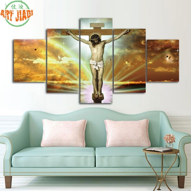 4 Piece/set Or 5 Pieces/set Canvas Art Jesus Christ On The Cross With Jesus Canvas Wall Art (Image 2 of 15)