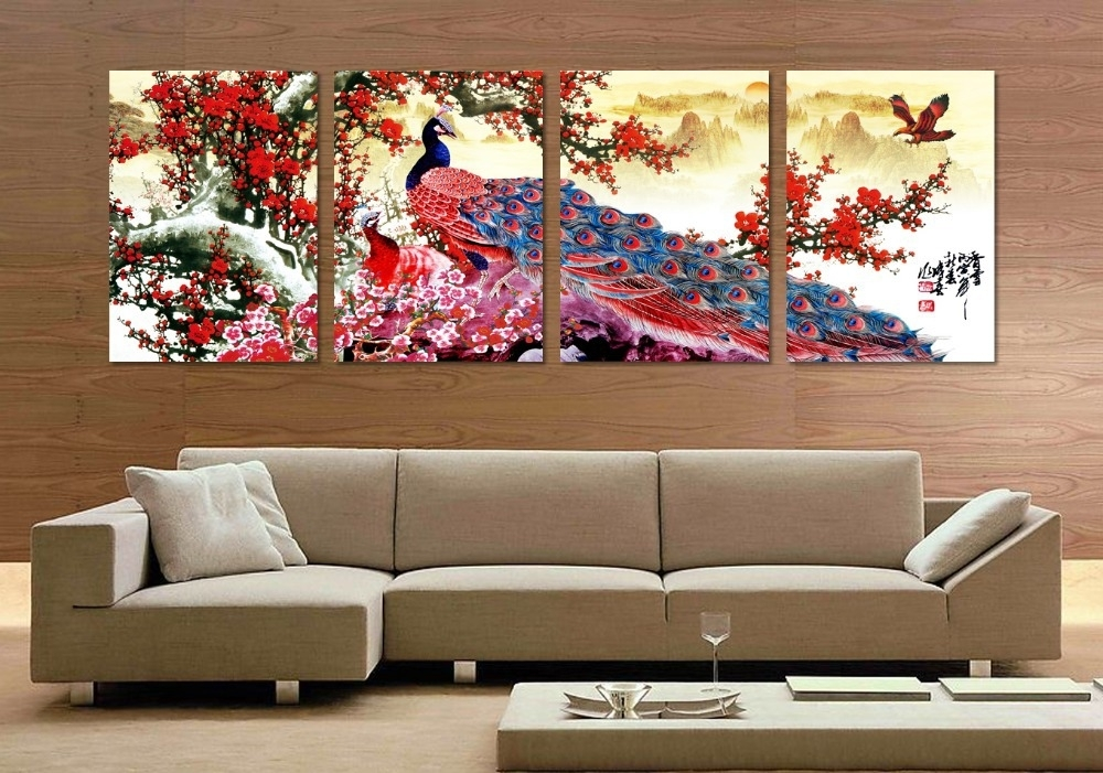 4 Pieces Long Tail Peacock Animal Traditional Chinese Style Flower Throughout Birds Canvas Wall Art (Photo 15 of 15)