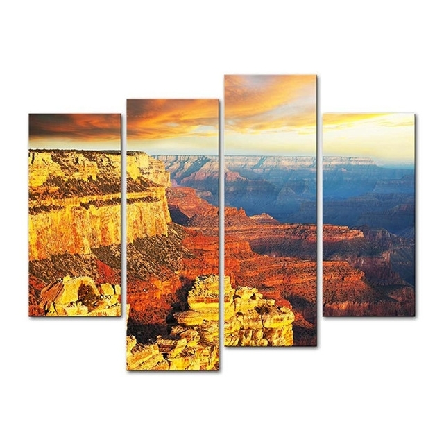 4 Pieces Modern Canvas Painting Wall Art National Park At Sunset With Regard To Arizona Canvas Wall Art (Photo 5 of 15)