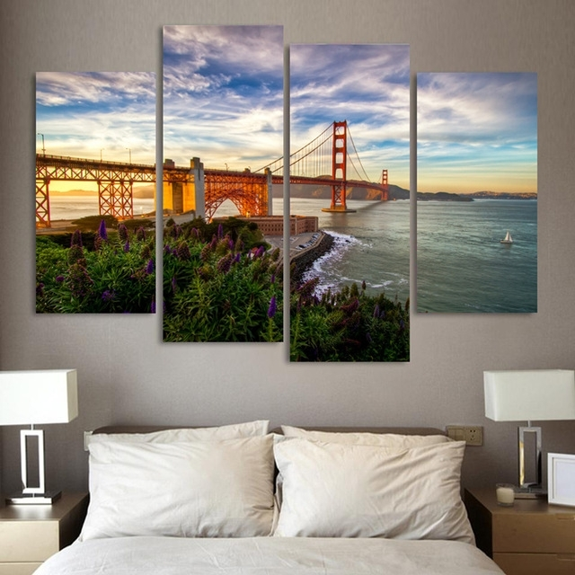 4 Pieces Mordern Wall Picture Canvas Painting Golden Gate Bridge In Golden Gate Bridge Canvas Wall Art (Photo 7 of 15)
