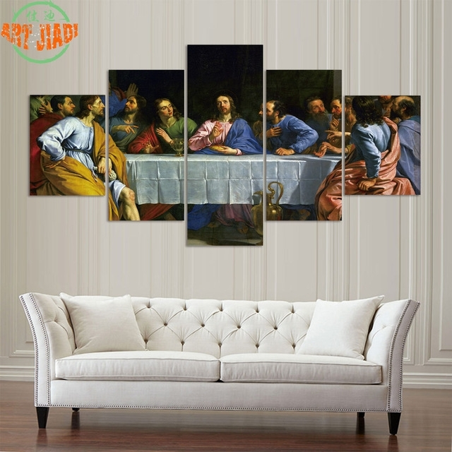 4 Pieces Or 5 Pieces Canvas Art Jesus Last Supper Hd Canvas in Jesus Canvas Wall Art