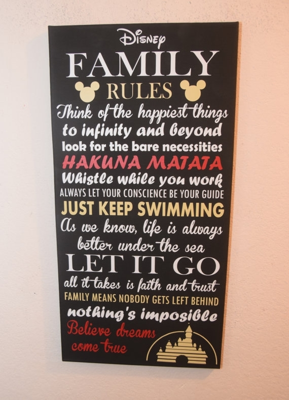 40 Fun Family Rules Wall Art | Panfan Site pertaining to Canvas Wall Art Family Rules