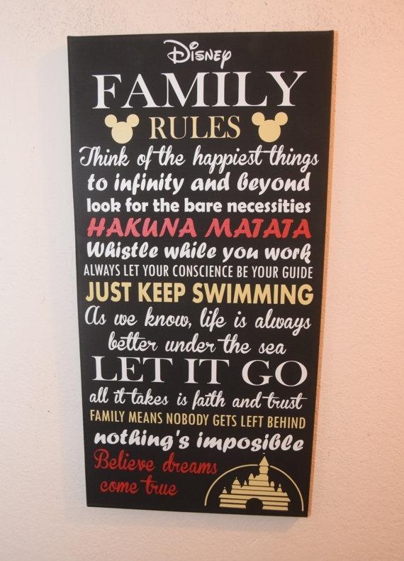 40 Fun Family Rules Wall Art | Panfan Site Pertaining To Canvas Wall Art Family Rules (Image 1 of 15)