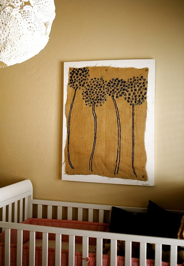 40 Nice Burlap Wall Art | Panfan Site pertaining to Burlap Fabric Wall Art